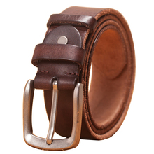 Cinturón de cuero para hombre, correa de cuero genuino para hombre, cinturón de cuero de vaca marrón para hombre, hebilla de pin, cinturones vaqueros vintage para hombre
