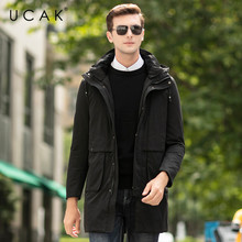 UCAK Brand Grey Goose Down Jackets Male Long Fashion Stylish Pockets Hooded Modern Casual 2019 Winter Men Clothing Jacket U8024