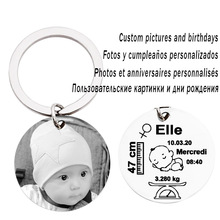 Personalized Family Gift Keyring Custom Keychain Engraving Photos Name Date Of Birth Customized Key Chain For Newborns Baby