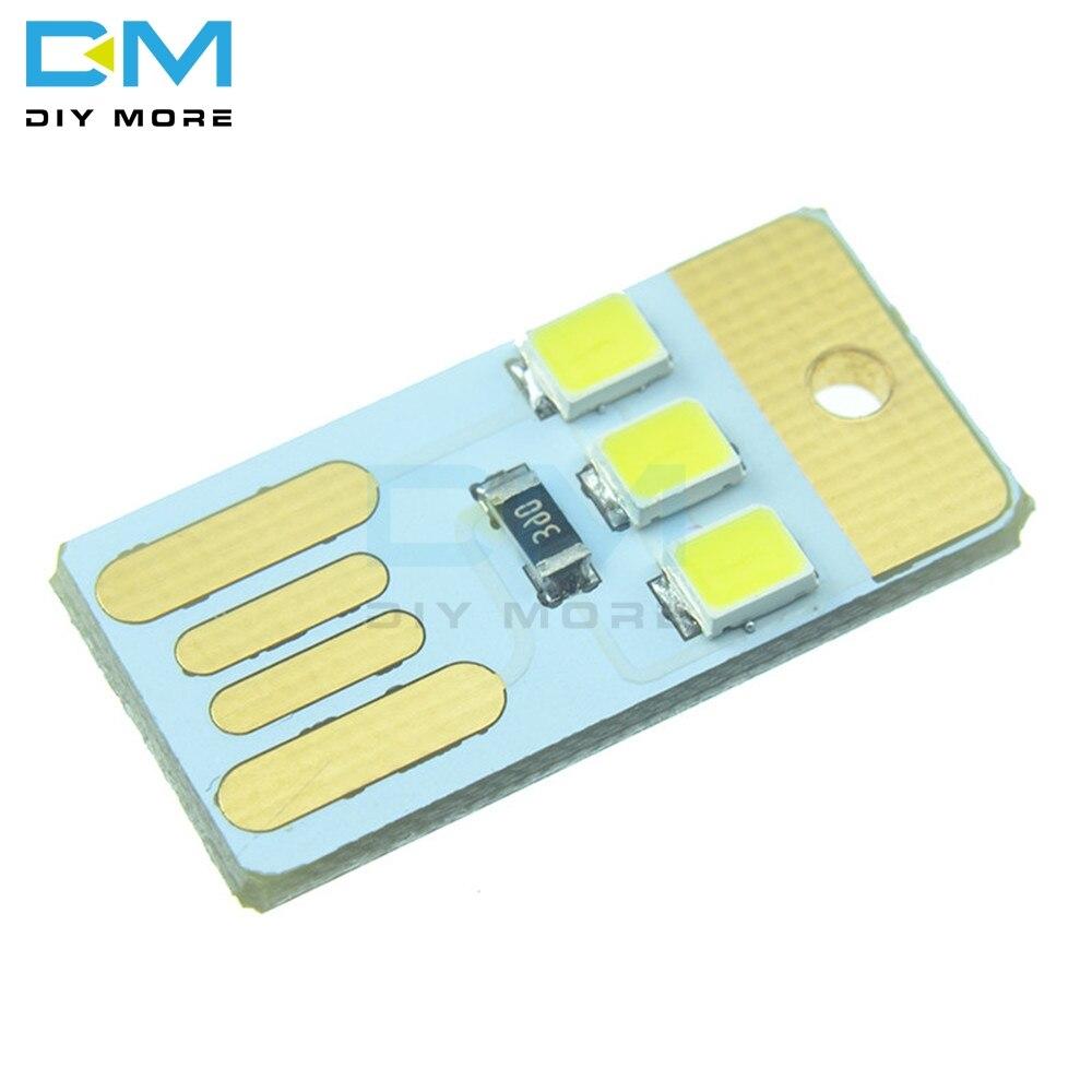 10PCS Mini Noite USB LED Chaveiro Energia Portátil Placa Branca de Bolso Cartão Lâmpada Lâmpada LED