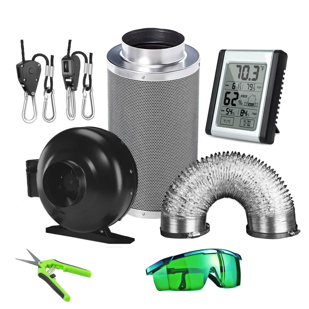 4'' 5'' 6'' 8'' 10'' 12'' Air Carbon Filter& Inline Fan& Ducting Hydroponic Air Purifier Grow Tent Kits Odor Control Ventilation