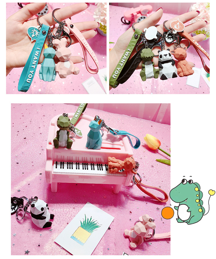 2019 New Fashion Cute Dinosaur Keychain Key Ring Fashion Cartoon PU Key Chain Creative Car Bag Phone Key Ring (15)