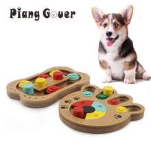 Interactive Toys For Dogs Foraging Food Treated Wood Dog Toy Eco friendly Pet Toy Educational Pet Bone Paw Puzzle Toy