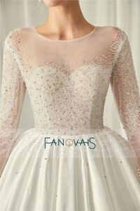 Image 5 - エレガントなアイボリーのウェディングドレス長袖 2019 vestido デ noiva クリスタル夜会服のウェディングドレスローブ · デのみ
