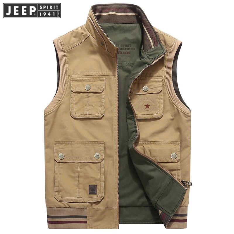 JEEP SPIRIT Original Brand Autumn Vest Men Casual Cotton Stand Collar Double Sides Wear Waistcoat Men Plus Size M-4XL Men Vest
