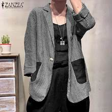 Outwear Jackets ZANZEA Plus-Size Overcoats Office-Suits Female Ladies Turn-Down And Autumn