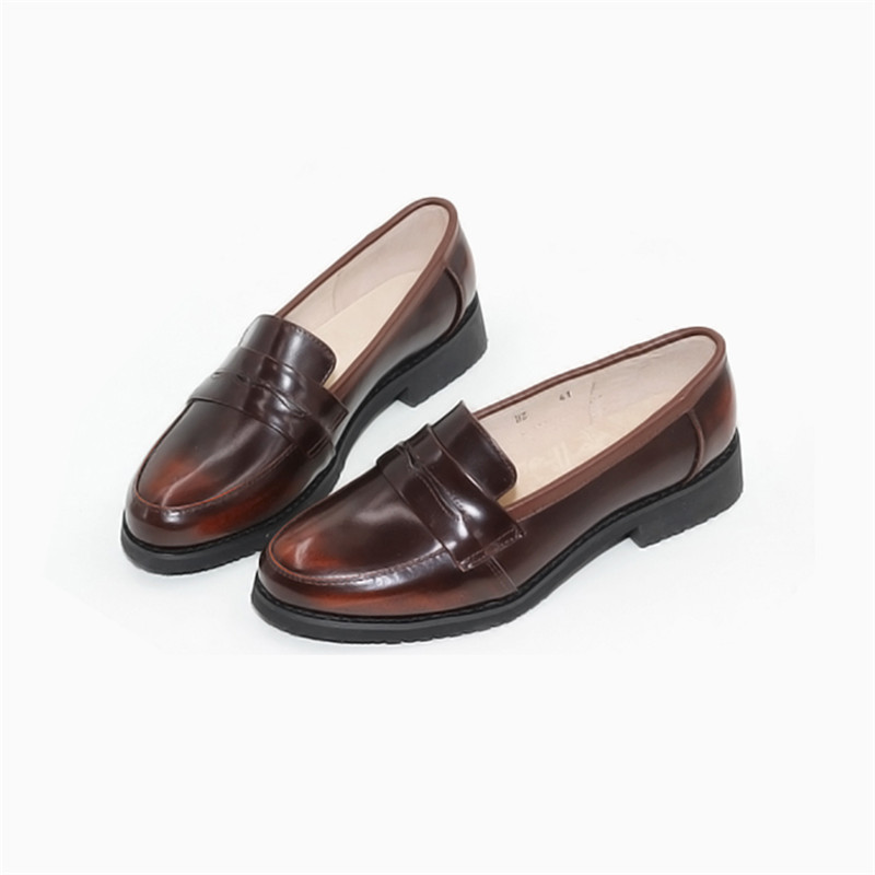 Spring Autumn New Pedal Genuine Leather Loafers Shoes Women British Polished Flat Tassel Oxford Shoes For Woman Large Size 32-43 (30)