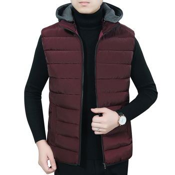 цены Autumn Early Winter Men Puffer Hooded Vests Warm Puff Hood Waistcoat Man Green Blue Red Black Quilted Sleeveless Outerwear Male