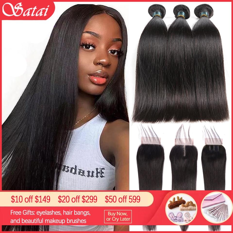 Satai Straight Hair Bundles With Closure Remy Human Hair 3 Bundles With Closure Brazilian Hair Weave Bundles 30 Inch Bundles
