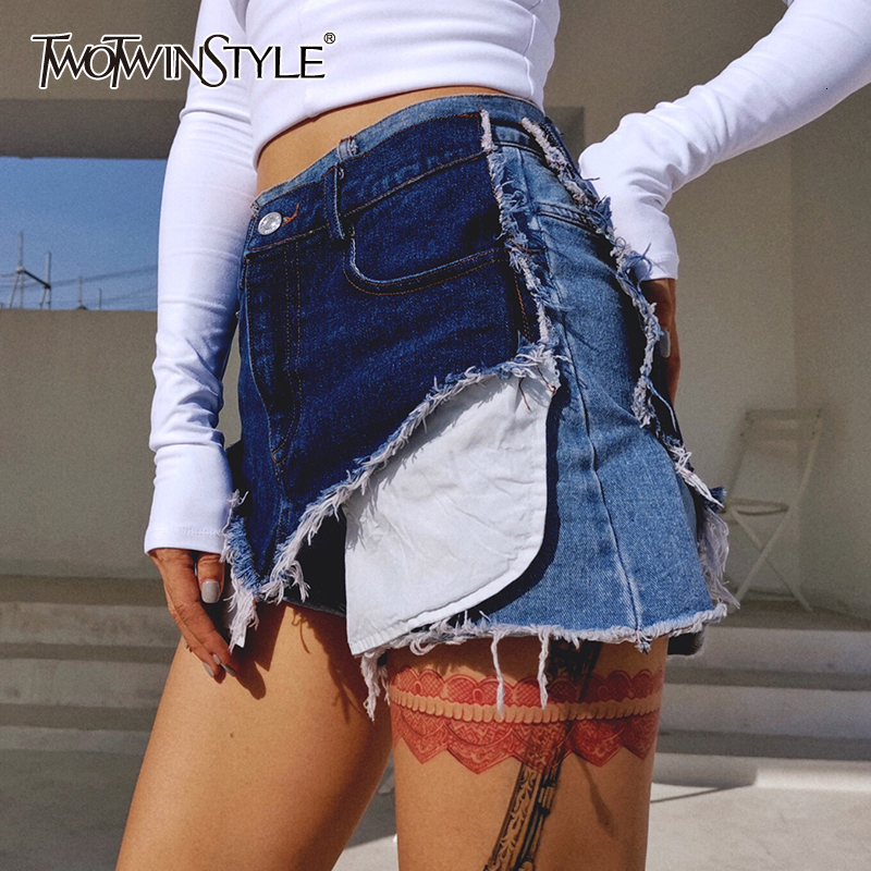 TWOTWINSTYLE Casual Patchwork Hit Color Irregular Shorts Female High Waist Asymmetrical Women's Shorts 2019 Fashion Clothing New