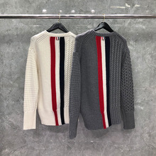TB THOM Brand Sweater Men Wool Pullover Casual Top Solid Striped High Quality Korean Design