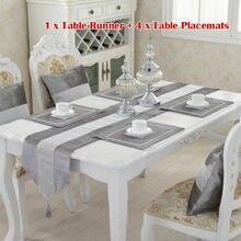 Chemin de Table moderne en velours et diamant + 4 napperons de salle à manger, décoration de maison, de fête de mariage, sans housse de coussin