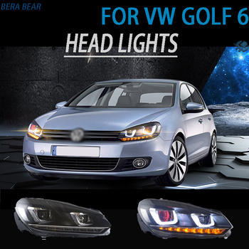 BERABEAR Car Styling LED Headlights For Golf 6 Headlamp 2010-2014 Headlight LED DRL Running lights High Low Beam Car Accessories
