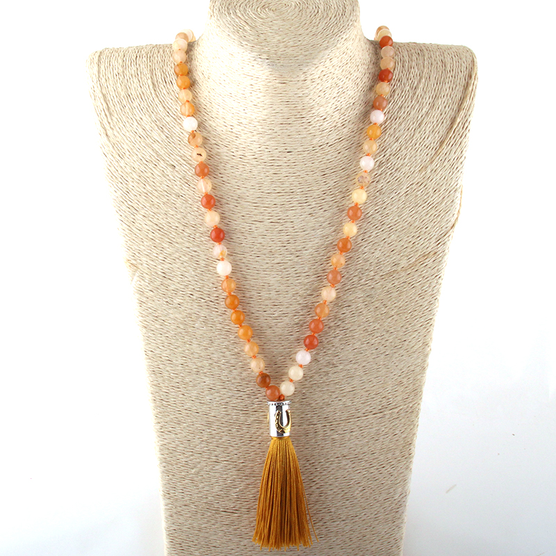 Fashion Natural Stone Bead Knotted Multi Orange Metal Starfish Long Tassel Necklace Free Shipping