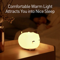 Baseus Cute LED Night Light Soft Silicone Touch Sensor Night Light For Children Kids Bedroom Rechargeable Tap Control Night Lamp