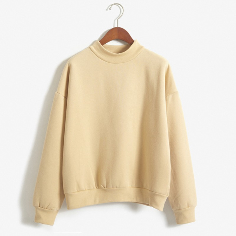 Sweatshirt Female Autumn Winter Long Sleeve Loose Fleece Pullover Tops Women Simple Basic Daily Casual Solid Plus Size Clothes