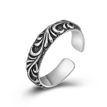 925 Sterling Silver Jewelry Couple Adjustable Ring Men Women Pattern Opening Ring Christmas gift wedding band недорого
