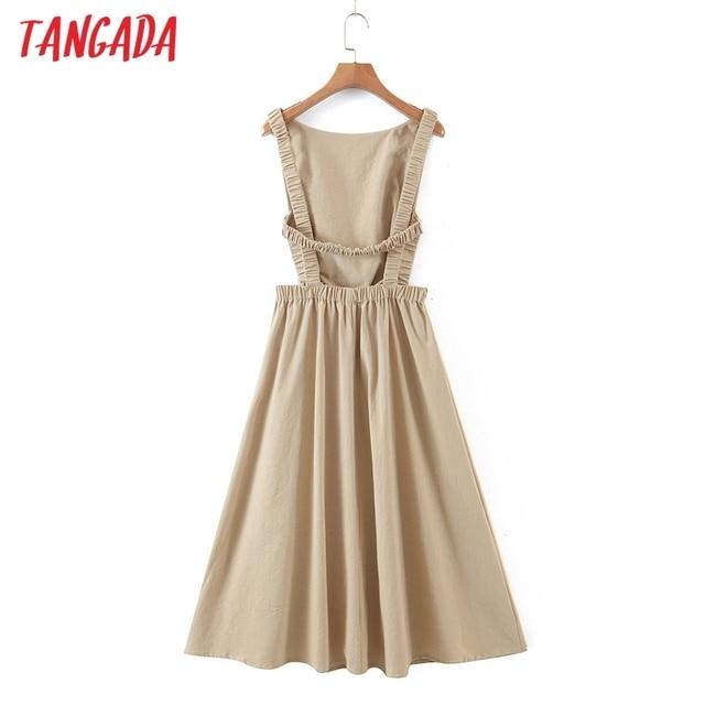 Tangada 2021 Summer Women Sexy Backless Beach Dress Sleeveless Ladies Long Dress Vestidos QB51 5