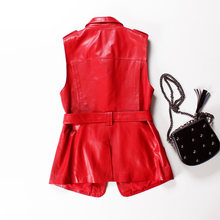 2020 New Arrival Vest Women Sheepskin Black Red Sleeveless Jacket Ladies Fashion Design Belt Lapel Real Leather Vest All Match(China)