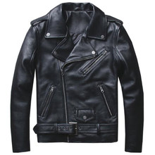 Vintage Mans Cow Sheepskin Leather Jackets Cowskin Jacket For Male Motocycle Genuine Leather Jacket Men Brand Clothing 5XL A583(China)