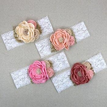 Baby Girl Hair Accessories Headbands Vintage Satin Flower Elastic Lace Hairbands With Flower Rhinestone Headwear bebe fille rhinestone vintage flower ring