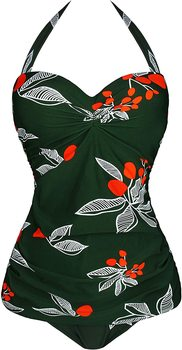 Retro 50s Pin Up Halter One Piece Swimsuit Monokinis