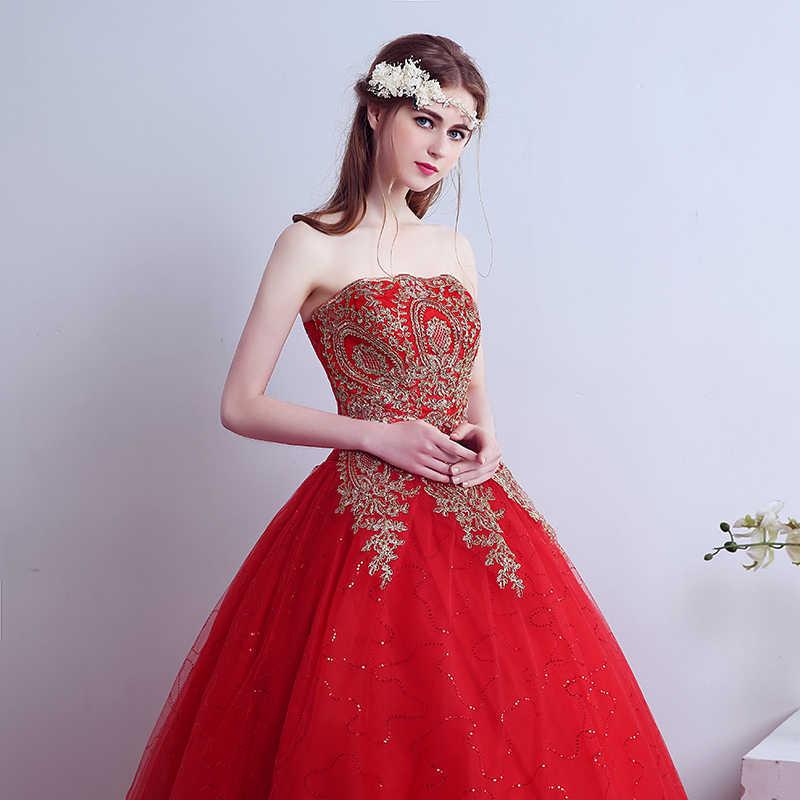 Vestidos De graduación De encaje rojo 2019 vestido De baile con apliques De encaje sin tirantes Vestidos De fiesta De noche para Vestidos De fiesta De 15 años 15 años