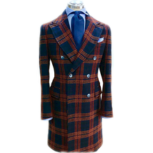 Mens Winter Long Overcoat 2020 New Casual Plaid Woolen Jacket Wedding Tuxedos One Piece Costume Homme Mariage Peaky Blinders