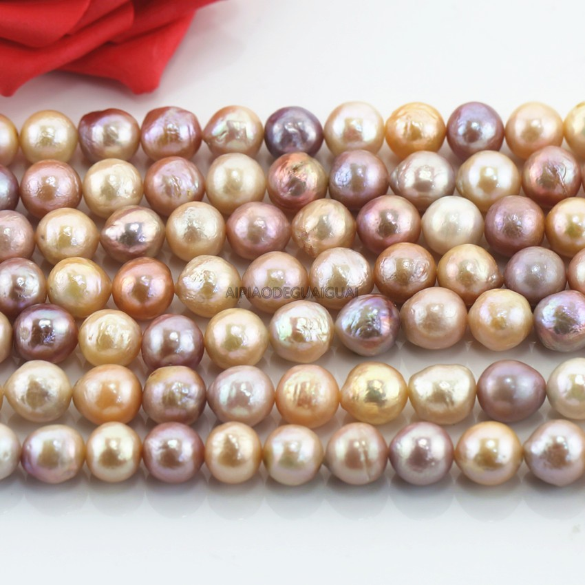APDGG Genuine Natural Freshwater 10-11mm Edison mixed color pearl strands loose beads women lady jewelry DIY