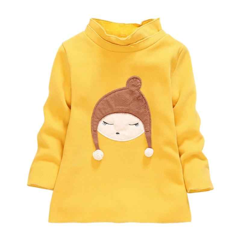 特にクリエイティブキッズ女の子長袖冬の繊細なデザイン文字ひまわり襟トレーナー