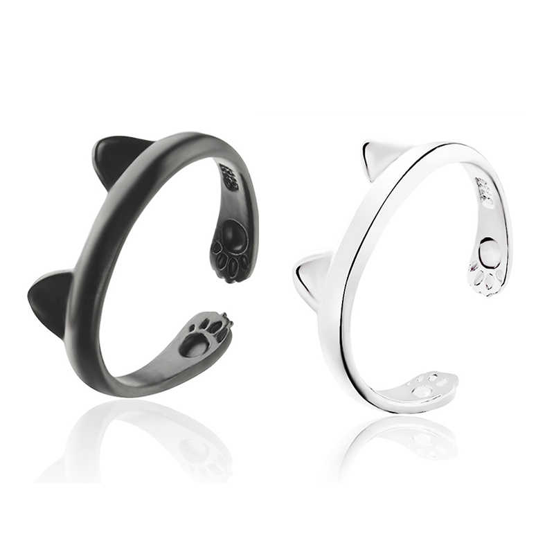 Female Lovely Cat Ear Ring Cute Animal Foot Print Open Adjustable Rings For Women And Girl Silver Black Color Boho Anel Style