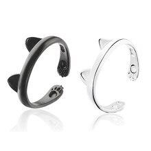 Anel de orelha de gato feminino, adorável, animal, estampa de pé, anéis ajustáveis para mulheres e meninas, prata, preto, cor boho estilo anel