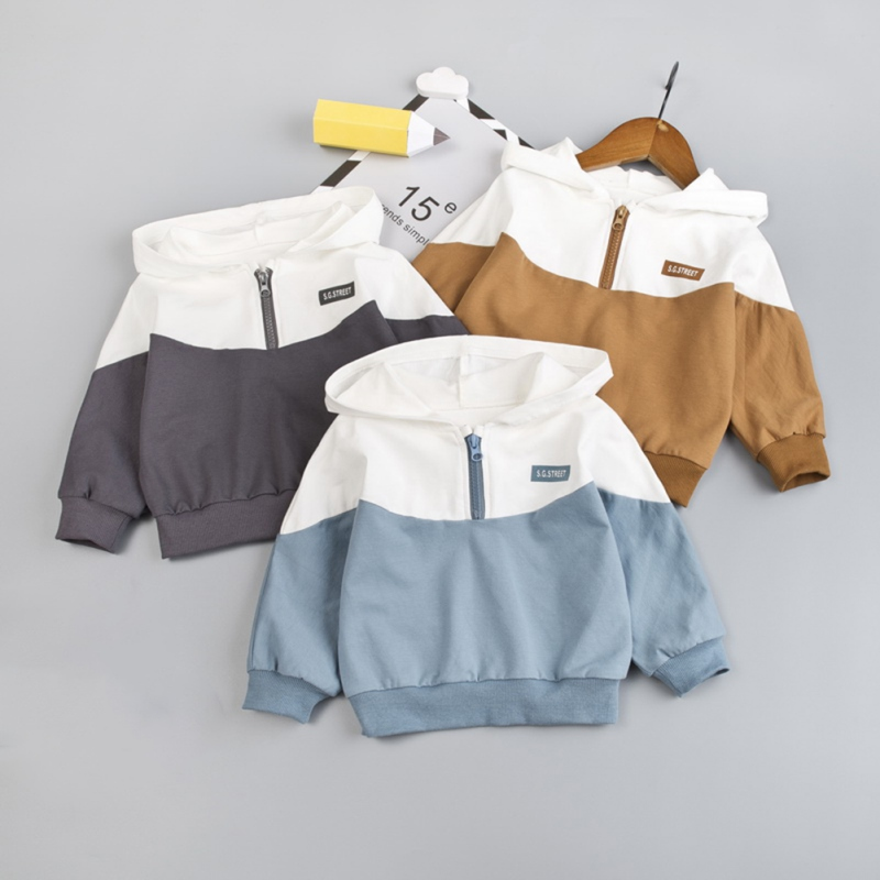 0-3T Sweater Hooded Baby Boys And Girls Cotton Fashion Color Matching Half Zipper Casual Cardigan