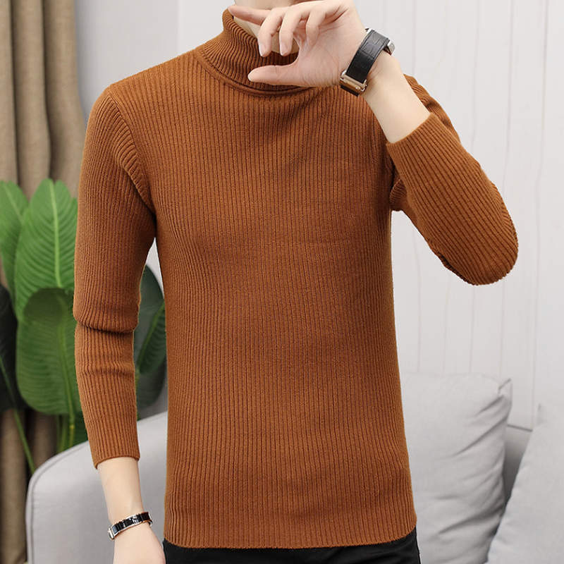 2019 New Autumn Winter Men'S Sweater Men'S Turtleneck Solid Color Casual Sweater Men's Slim Fit Brand Knitted Pullovers M-3XL