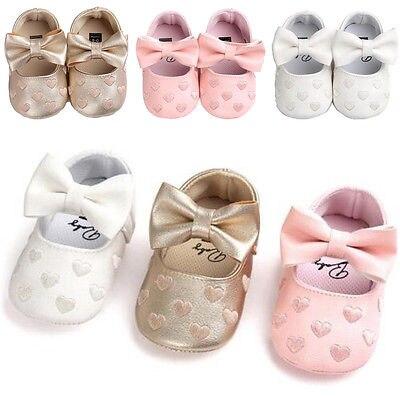 Super Cute Newborn Toddler Girl Crib Shoes Baby Bowknot Soft Sole Prewalker First Walkers