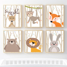 Fox Bear Lion Deer Rabbit Forest Wall Art Canvas Painting Nordic Posters And Prints Nursery Wall Pictures Baby Kids Room Decor цена и фото