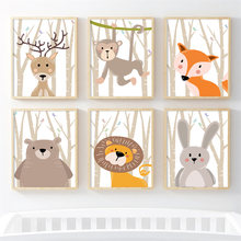 Vos Beer Leeuw Herten Konijn Forest Wall Art Canvas Schilderij Nordic Posters En Prints Nursery Muur Pictures Baby Kinderkamer decor(China)