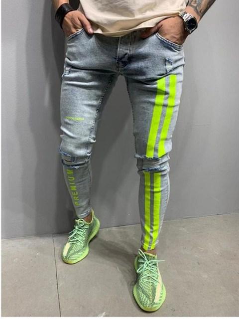 Jeans Men Skinny Striped Zipper Denim Vintage Hip Hop  5