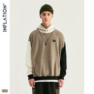 Image 4 - Design de inflação fw 2020 contraste cor dos homens moda hoodies bloco cor masculino hoodie com logotipo impresso rua wear masculino solto ajuste