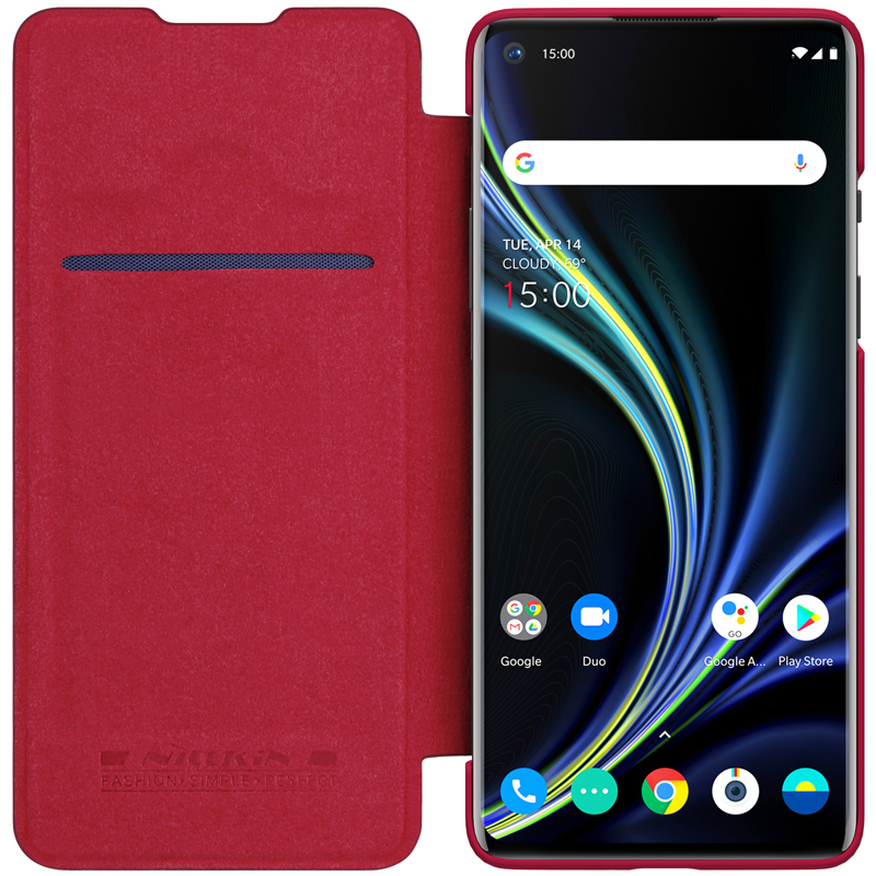 NILLKIN OnePlus 8 Case Qin Series Hard Plastic+PU Leather Flip Cover Case for OnePlus 8
