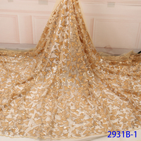 Gold Color African Lace Fabric 2018 High Quality French Velvet Lace Fabric With Sequins Lace Fabric For Wedding Party QF2931B 1
