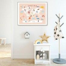 Sea Life Continenten Dier Wereldkaart Poster Kinderen Canvas Schilderij Babykamer Wall Art Print Foto 'S Voor Kinderkamer Decor