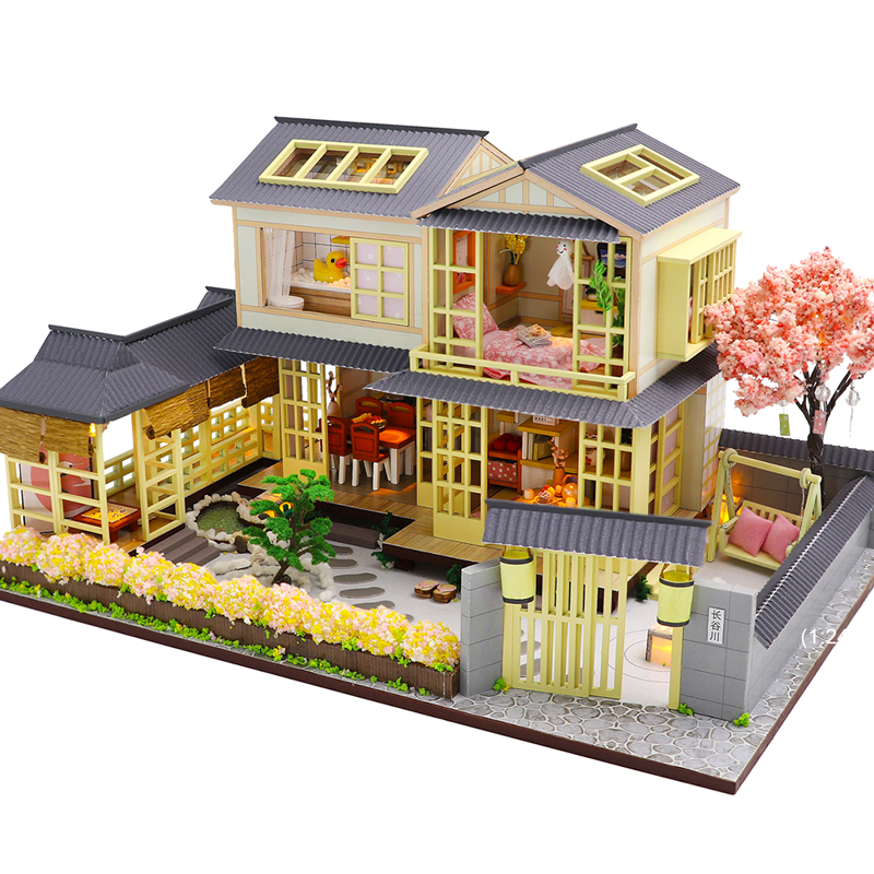 Cutebee DIY DollHouse Wooden Doll Houses Miniature Dollhouse Furniture Kit Toys For Children New Year Christmas Gift  Casa K45