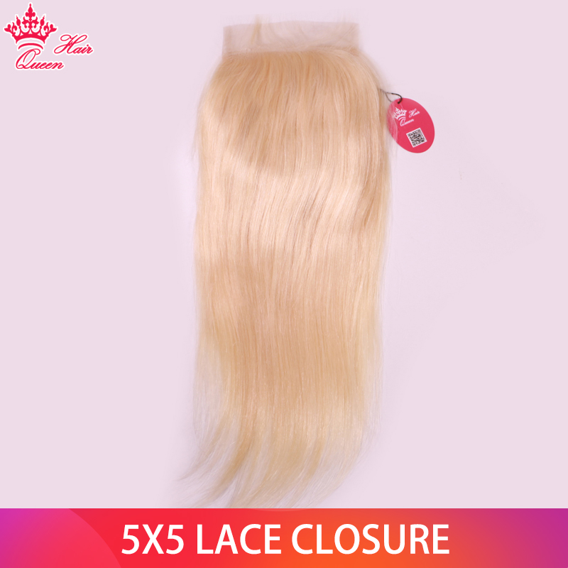 Queen Hair <font><b>613</b></font> Blonde Straight <font><b>5x5</b></font> <font><b>Closure</b></font> Free Part Brazilian Human Hair <font><b>Lace</b></font> <font><b>Closure</b></font> Swiss <font><b>Lace</b></font> 10''-20'' Remy Hair image