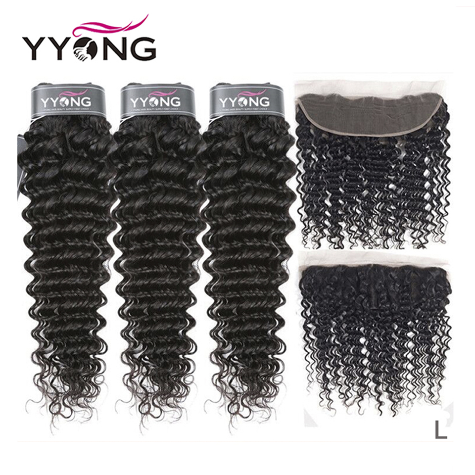 Peruvian Deep Wave 3 Bundles With Frontal Ear To Ear Lace Frontal With Bundles Remy Human Hair Bundle With Closure Middle Ratio