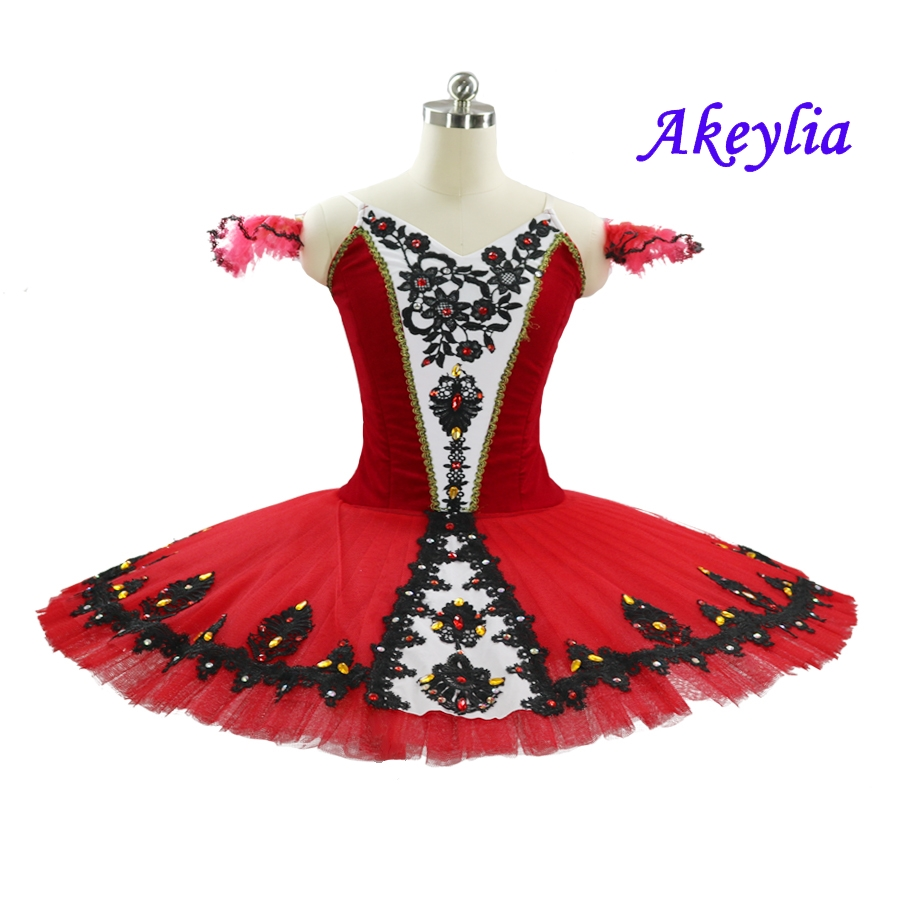 Professional Tutu Red Ballet Black Lace Decorations Pancake Adult Performance Don Quixote Competition Costumes For Girls