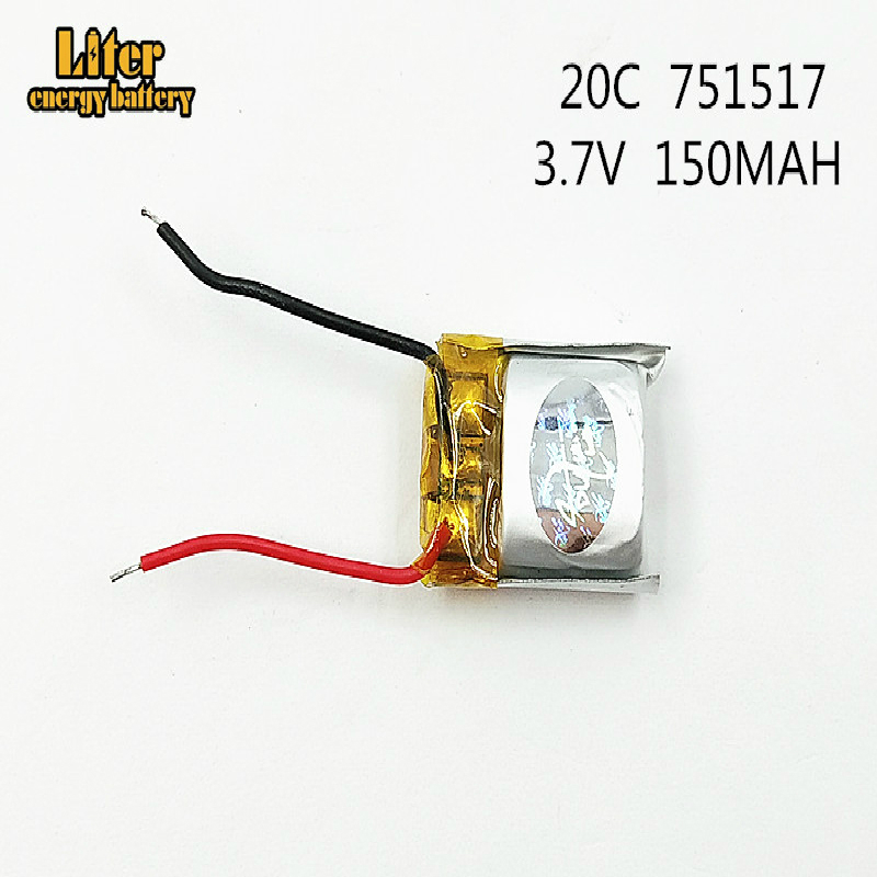 10Pcs/Lot 3.7V <font><b>150mAh</b></font> 751517 lithium polymer <font><b>battery</b></font> CX-10 CX-12 JJ810 Remote Quadrocopter <font><b>3.7</b></font> <font><b>V</b></font> Lipo bettery 20c image