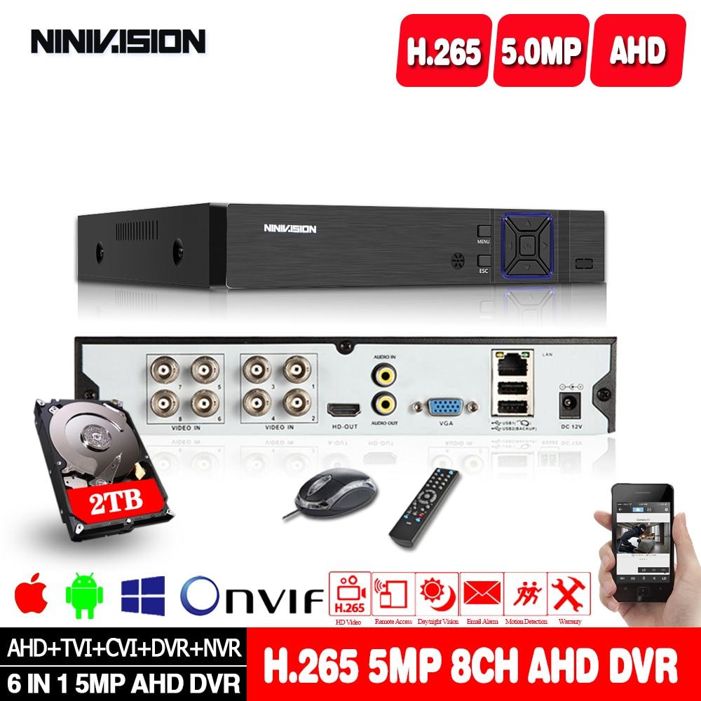 4CH 8CH 16CH AHD Security CCTV DVR H.265 5MP 4MP 1080P AHD CVI TVI Analog IP Camera 5MP Hybrid Video Recorder 5MP Video Output
