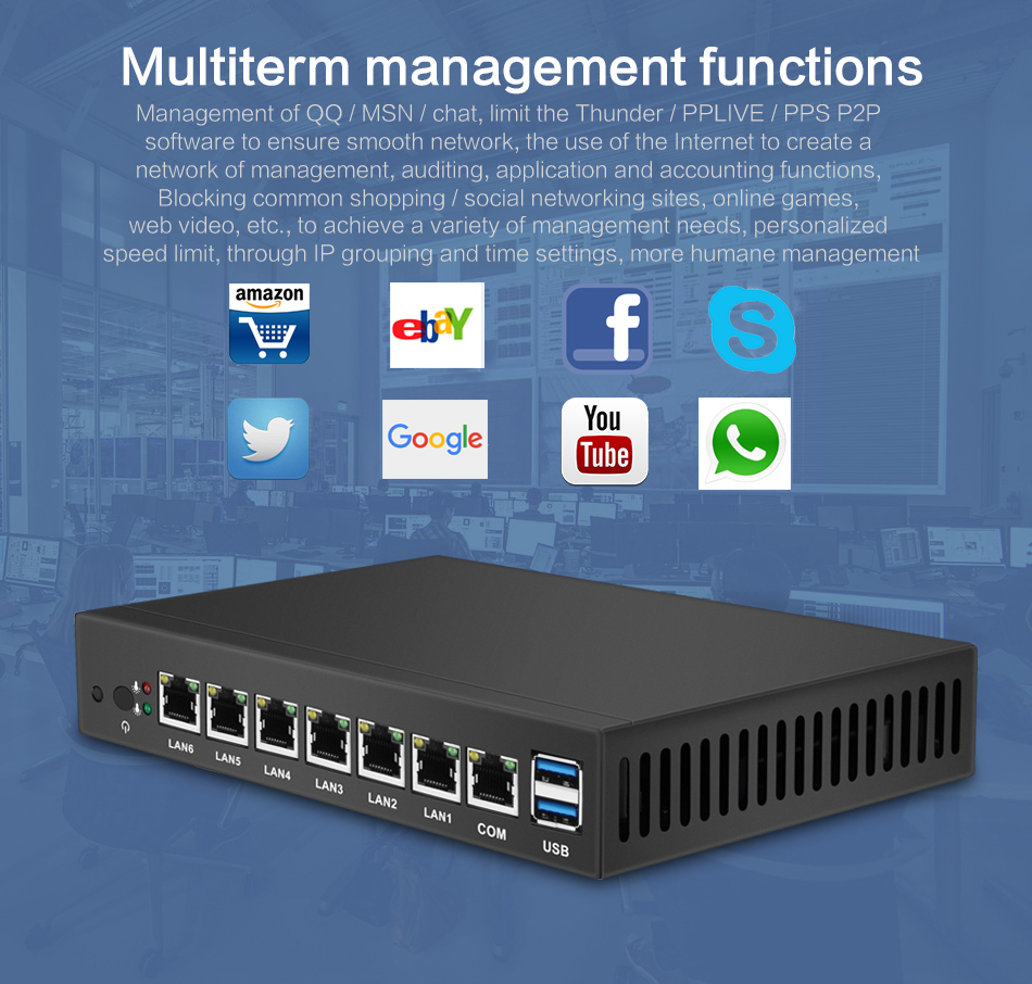 HLY Mini PC with 6x Gigabit Ethernet LAN and Intel Celeron 1037U Processor Industrial Monitors 10