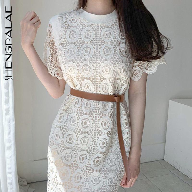 SHENGPALAE 2020 New Summer Women Vintage Loose High Waist Slim Was Thin Elegant Hollow Out Lace Design Maxi Dress ZA4558